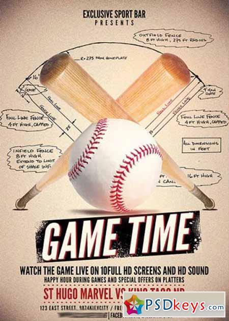 Baseball Game Premium Flyer Template + Facebook Cover » Free