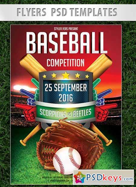 Baseball Competition Flyer PSD Template + Facebook Cover » Free