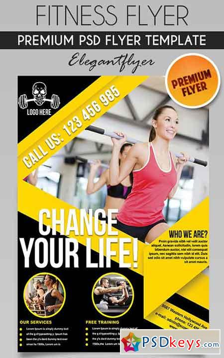 Fitness Flyer PSD Template + Facebook Cover » Free Download - fitness flyer
