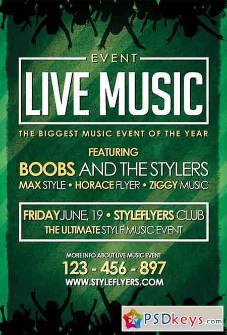 Live Music Event PSD Flyer Template + Facebook Cover » Free Download
