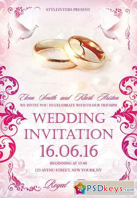 Wedding Invitation PSD Flyer Template + Facebook Cover » Free
