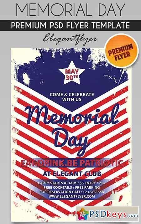 Memorial Day \u2013 Flyer PSD Template + Facebook Cover » Free Download