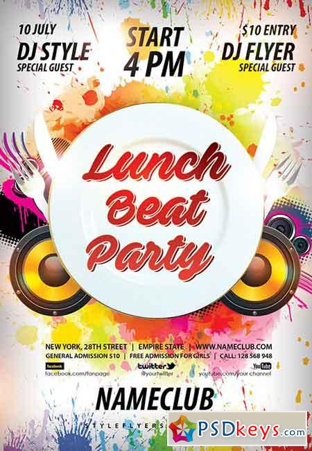 Lunch Beat Party Psd Flyer Template Facebook Cover