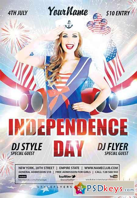 Independence Day PSD Flyer Template + Facebook Cover » Free Download