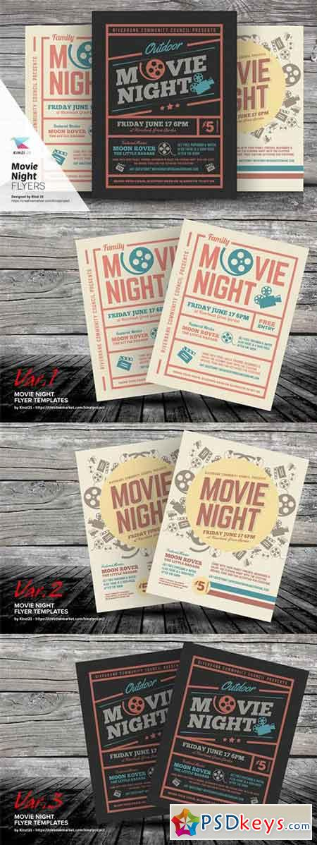 Movie Night Flyer Templates 703184 » Free Download Photoshop Vector - movie night flyer template