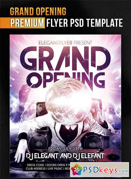 grand opening flyer psd
