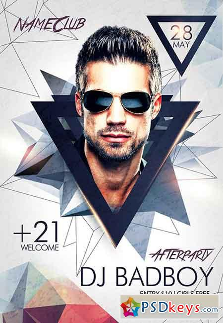 Dj BadBoy Afterparty PSD Flyer Template + Facebook Cover » Free