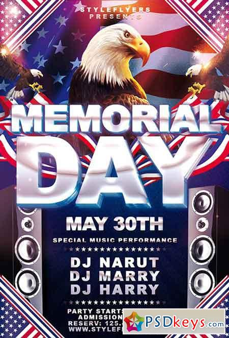 Memorial Day PSD Flyer Template 5 + Facebook Cover » Free Download