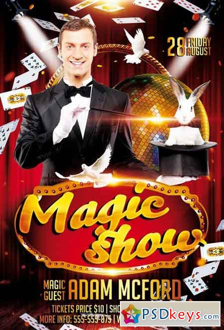 Magic Show PSD Flyer Template + Facebook Cover » Free Download