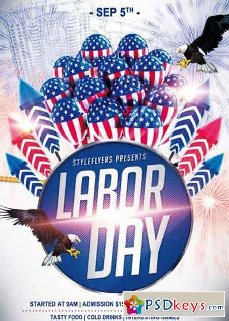 Labor Day PSD Flyer Template » Free Download Photoshop Vector Stock