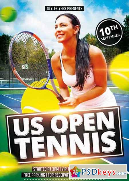 Open Tennis V2 PSD Flyer Template » Free Download Photoshop Vector