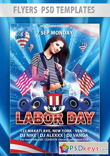 Labor Day Flyer PSD Template + Facebook Cover 3 » Free Download