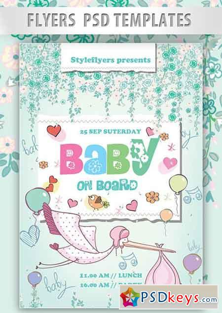 Baby on Board Flyer PSD Template + Facebook Cover » Free Download