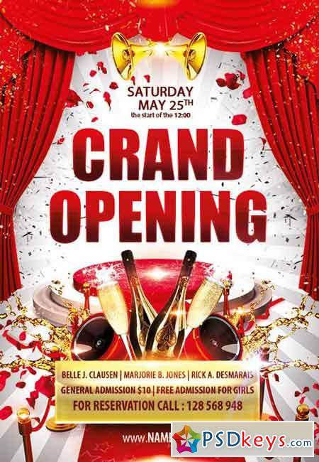 Grand opening Flyer PSD Template » Free Download Photoshop Vector - Grand Opening Flyer