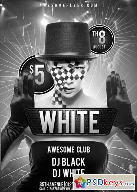 Black and White V4 Club Flyer Template » Free Download Photoshop - black and white flyer template