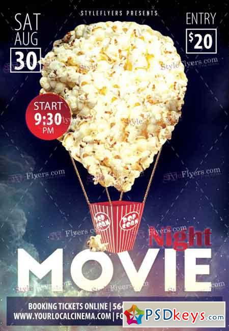 Movie Night PSD Flyer Template » Free Download Photoshop Vector
