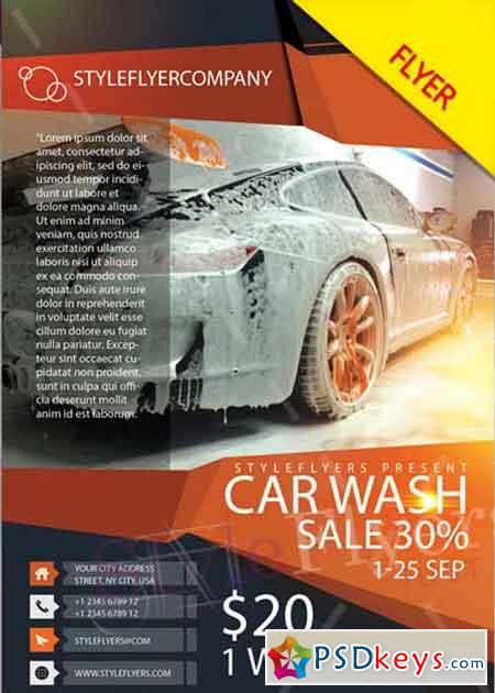 Car Wash V5 PSD Flyer Template » Free Download Photoshop Vector - car for sale flyer template