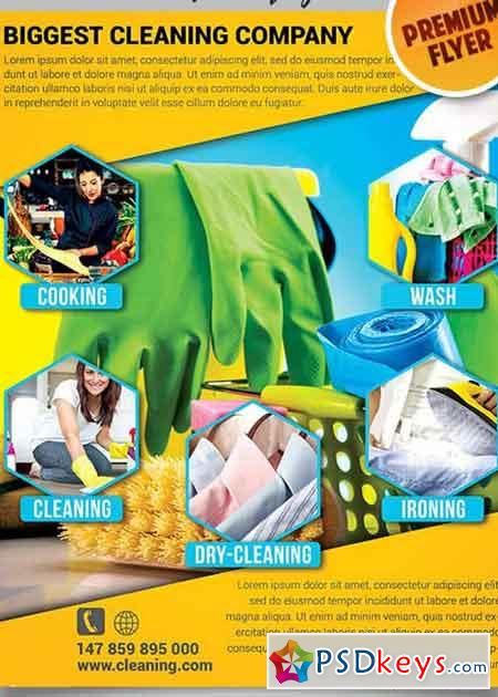 House Cleaning Flyer PSD V5 Template + Facebook Cover » Free