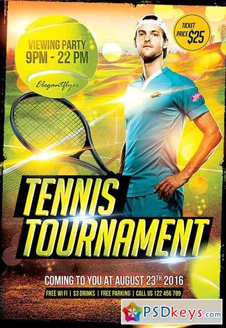 Tennis Tournament Flyer PSD Template + Facebook Cover » Free