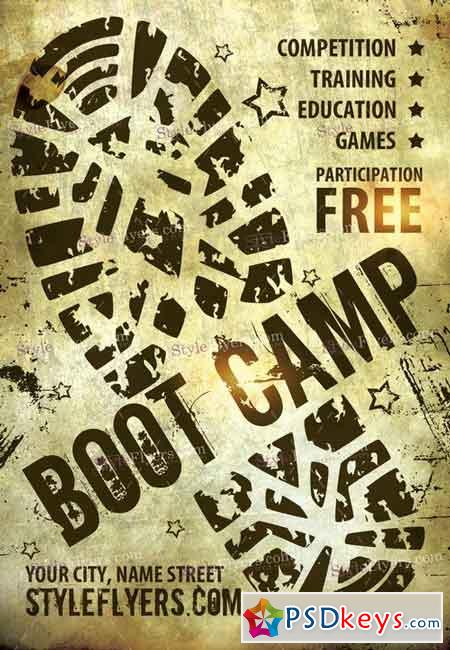 Boot Camp PSD Flyer Template + Facebook Cover » Free Download - camp flyer template