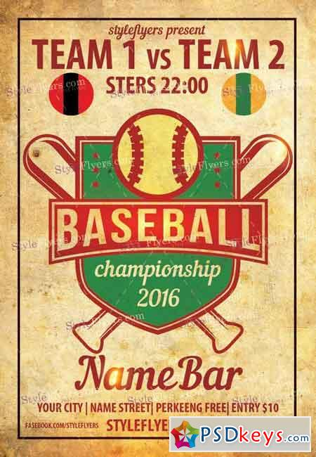 Baseball PSD Flyer Template + Facebook Cover » Free Download