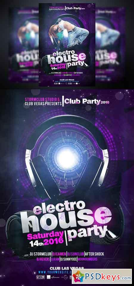 Electro House Flyer Template 959979 » Free Download Photoshop Vector