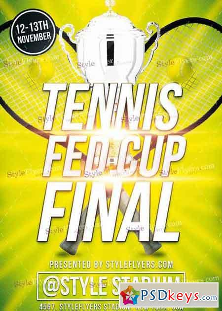 Tennis Fed Cup Final PSD V 12 Flyer Template » Free Download - tennis flyers templates free