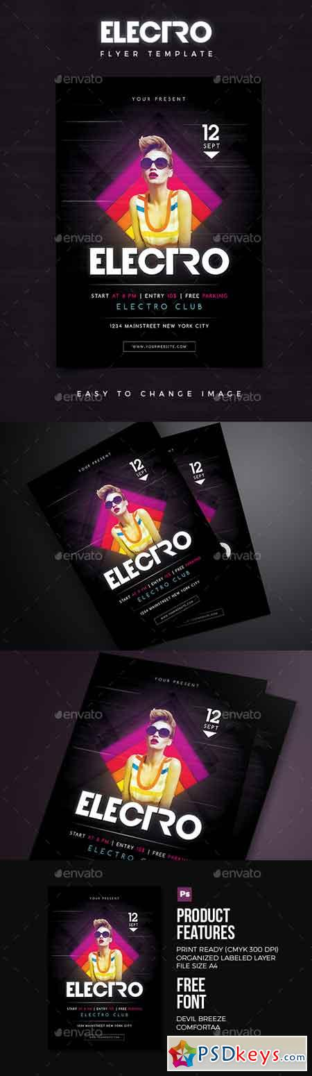 Electro Flyer 02 18394879 » Free Download Photoshop Vector Stock - electro flyer