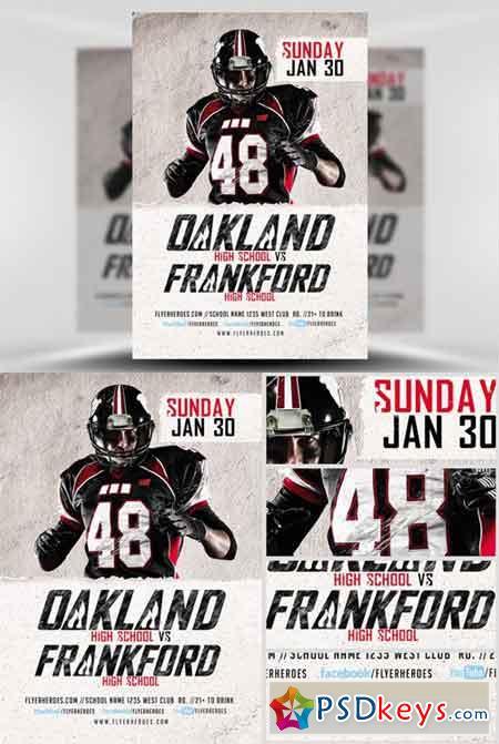 High School Football Flyer Template » Free Download Photoshop Vector