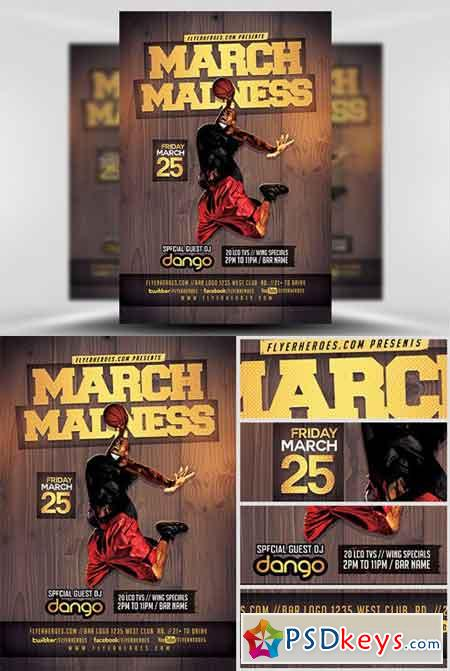 March Madness Basketball Flyer Template » Free Download Photoshop - basketball flyer example