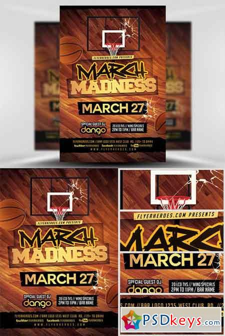 March Madness Basketball Flyer Template v3 » Free Download - basketball flyer example