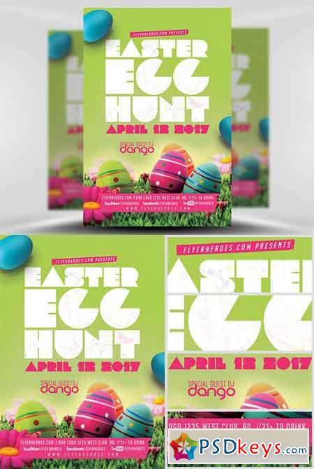 Easter Egg Hunt Flyer Template v2 » Free Download Photoshop Vector