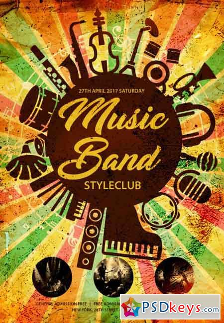 Music Band PSD Flyer Template » Free Download Photoshop Vector Stock - music flyer template