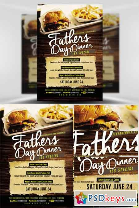 Fathers Day Dinner Flyer Template » Free Download Photoshop Vector - Dinner Flyer