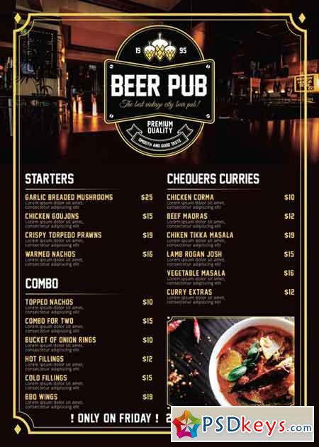pub menu templates