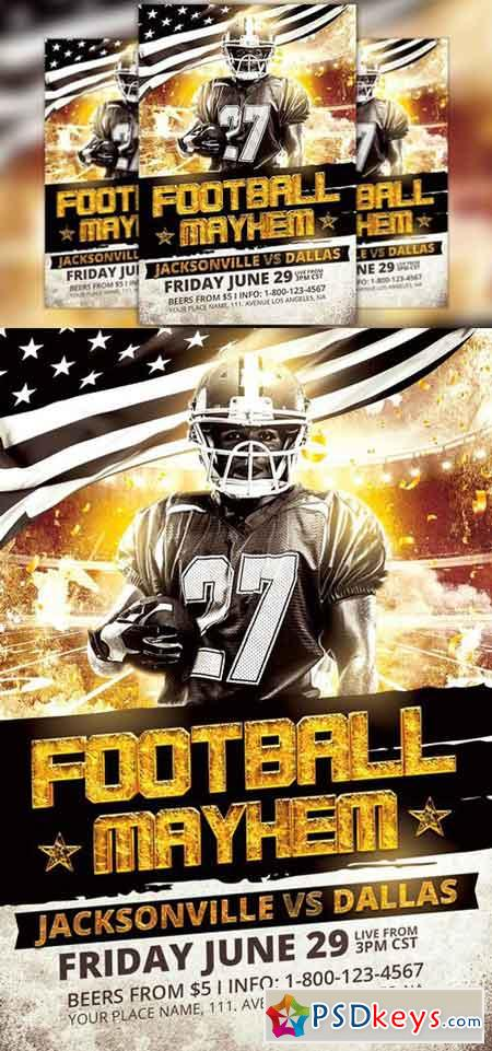 Football Mayhem Flyer Template 1559662 » Free Download Photoshop