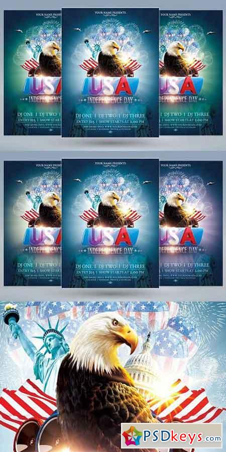 USA Independence Day Flyer 1596256 » Free Download Photoshop Vector