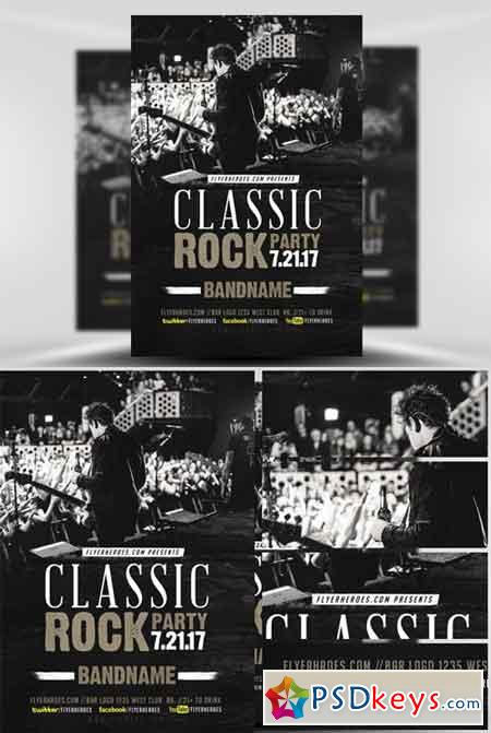 Classic Rock Bands Flyer Template V2 » Free Download Photoshop - band flyer template
