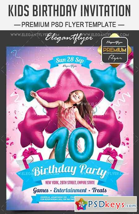 Kids Birthday Invitation \u2013 Flyer PSD Template + Facebook Cover