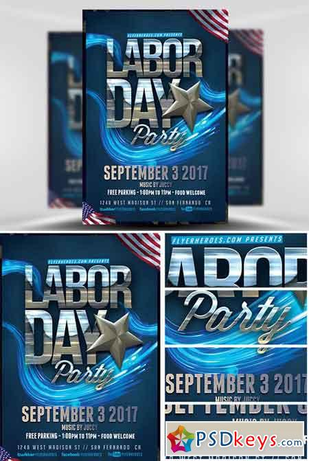 Labor Day Party Flyer Template v4 » Free Download Photoshop Vector