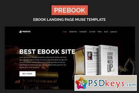 Prebook - eBook Landing Page Responsive Adobe Muse Template 20689088
