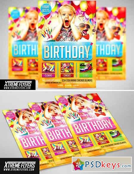 Kids Birthday Flyer Template 1814896 » Free Download Photoshop