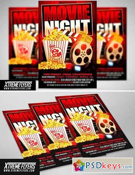 Movie Night Flyer Template 1811306 » Free Download Photoshop Vector