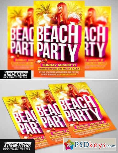 Beach Party Flyer Template 1811247 » Free Download Photoshop Vector