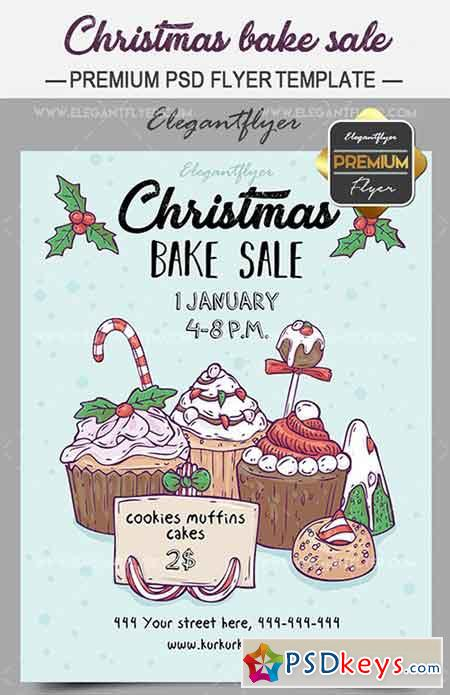 Christmas Bake Sale \u2013 Flyer PSD Template + Facebook Cover » Free