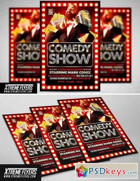 Comedy Show Flyer Template 1811055 » Free Download Photoshop Vector - comedy show flyer template
