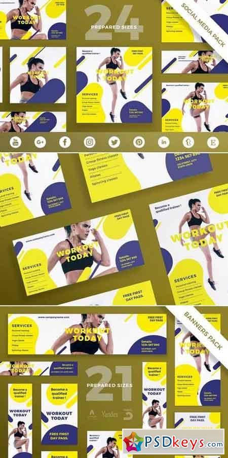 Gym Workout Flyer,Poster, Social Media, Banner Pack Template » Free