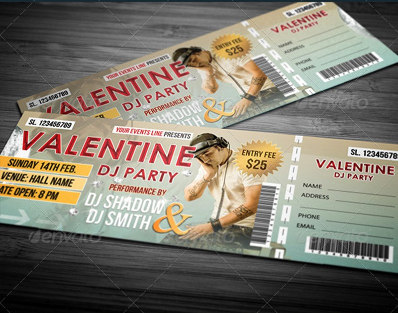 20+ Best Event/Concert Ticket PSD Templates - party ticket template