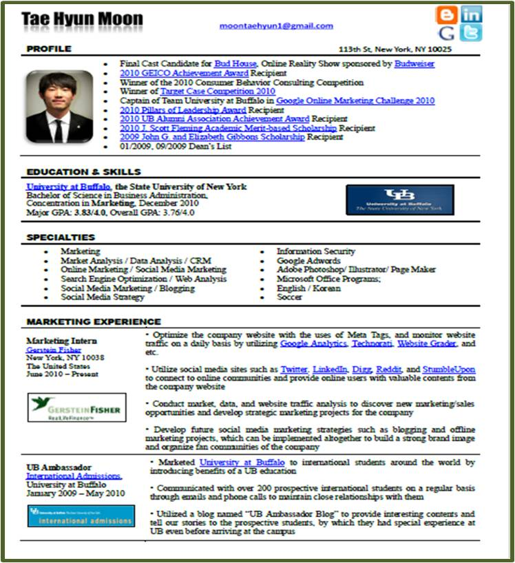 New Resume Format in the Social Media era? \u2013 Tae Hyun Moon PSE Buffalo
