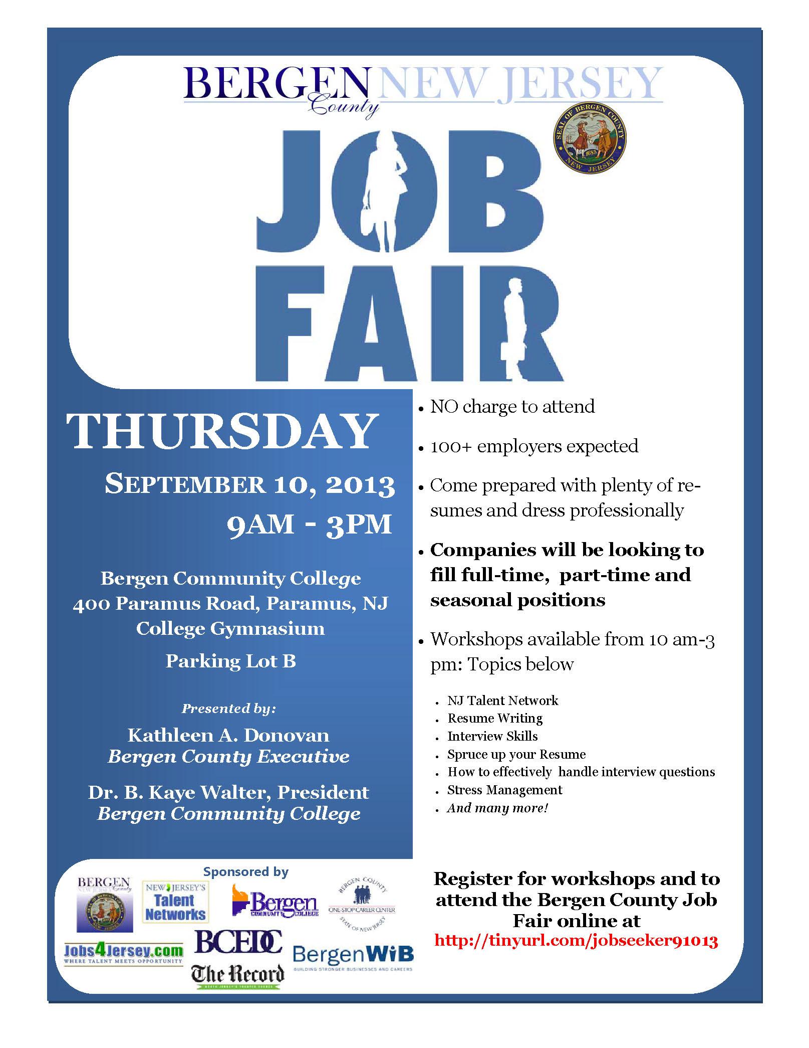 Blue apron job fair nj - Bergen County Job Fair September 10 Flyer Jpg 1615x2090 College Job Flyer